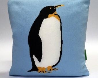 Pete the Penguin Pillow - Knit Cushion - Light Blue