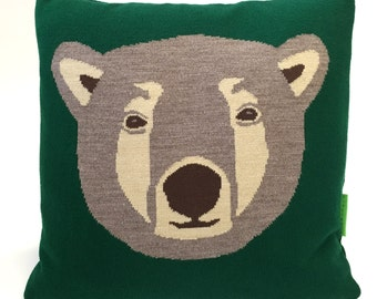 Ted the Brown Bear Pillow - Knit Cushion - Blue Red Green