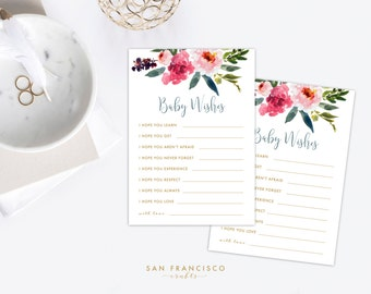 Baby Wishes Game |  Printable Wishes for Baby | Baby Shower Game | Floral, Watercolor | Elise Collection - PDF file - Instant Download