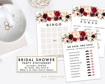 Bridal Shower Games - Bridal Shower Package Bundle - He Said She Said, Bingo, What's in Your Purse Game - Instant Download -HOLLY Collection