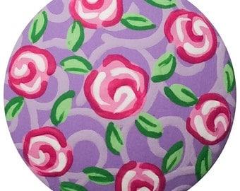 Purple Pink Roses Knobs Hand Painted Knobs Wood Decorative Knobs Dresser Knobs Cottage Roses Knobs Kids Drawer Pulls Knobs Girls Knobs