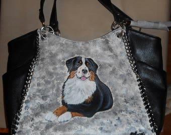 Bernese Mountain Dog  Hand Painted Leather Handbag Totebag Purse OOAK