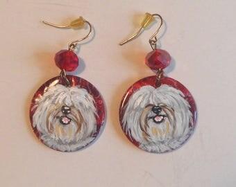 Coton De Tulear Dog Hand Painted Dangle earrings Jewelry OOAK