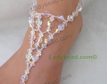 FJ400AB Barefoot Sandals Crystal Bling Barefoot Bride Bling Beach Wedding Elegance