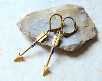 Brass Arrow Earrings - Arrow Earrings - wire wrapped brass arrow earrings - Lavender Wire Wrapped Arrow Earrings - Arrow Jewelry - boho chic
