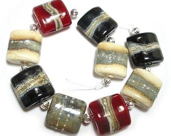 SRA Handmade Glass Lampwork Beads,  Ivory Mix Nuggets