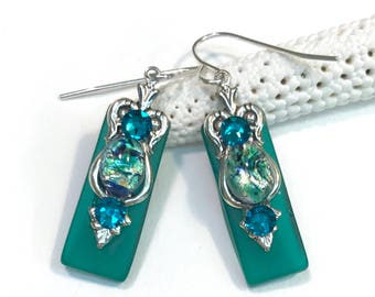 Stained Glass Earrings with  Glimmering Green Glass Opals