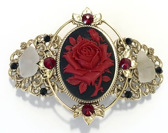 Cameo Hair Barrette Red Rose with Beach Glass and Crystals