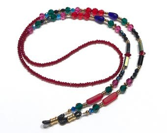 Eyeglass Chain Beaded Red with Jewel Tones