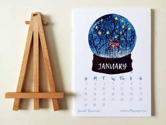 2017 12 Month  Calendar Watercolour Trees Desk or Wall Calendar With Mini Art Easel Stand Office Art Desk Artwork