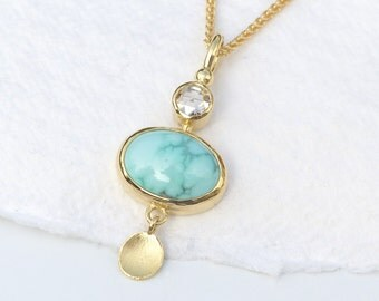 Turquoise and Diamond Pendant in 18ct Gold
