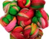 Jolly Elf -- mini batts (2 oz.) organic polwarth wool, bamboo, silk, silver holographic sparkle.