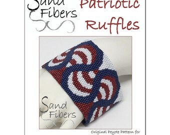 Peyote Pattern - Patriotic Ruffles Peyote Cuff / Bracelet  - A Sand Fibers For Personal and Commercial Use PDF Pattern
