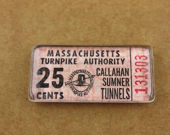 Massachusetts Turnpike Toll Ticket Magnet - Callahan Sumner Tunnels Boston