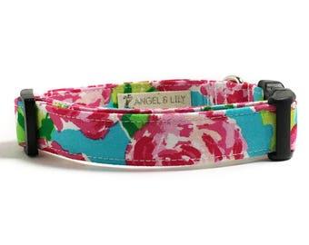 Dog Collar - Rose Dog Collar - Floral Dog Collar - Lilly Pulitzer Inspired - Girl Dog Collar - Flower Dog Collar - Summer Dog Collar