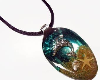 Resin Spoon Pendant - Splashin Dolphin -  Altered Art Necklace 2