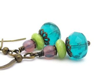 Layered Earrings, Multi Color, Petite Colorful Earrings, Dangle Drop Earrings, Gift for Her, Gift Under 15, Teal Lime Purple Earrings