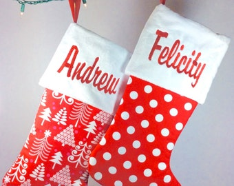 christmas stockings in red, monogrammed christmas stockings, red christmas stockings, family christmas stockings, christmas stockings