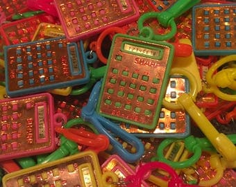 10pcs VINTAGE CALCULATOR CHARMS Retro Plastic Clips