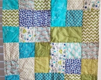Moving Sale Whimsical Woods Baby Quilt - blue, lime green, teal, grey 307