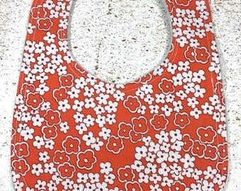 Baby Bib  Flowers baby girl orange white flower
