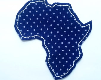 Navy felt with gray stars Africa map embroidered patch applique - patches for jackets - country patch - embroidery