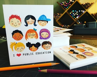 I Love Public Education blank notecards handmade set of 10 original artwork