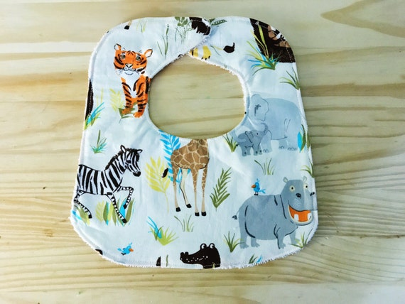 Wild Jungle Baby Boy Bib, Baby Shower Gift, Drool Bib, Handmade Bib, Infant Bib