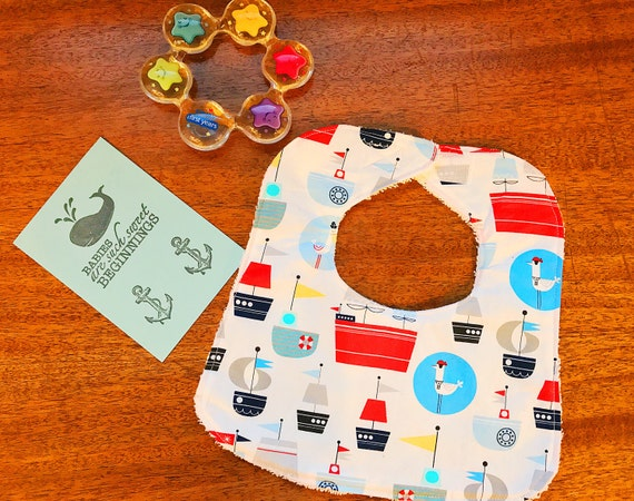 Sail Away Baby Boy Bib, Baby Shower Gift, Infant Bib, Handmade Drool Bib
