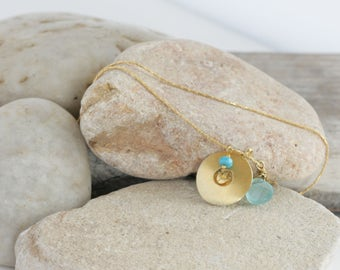 OOAK Vintage Gold Vermeil Lotus Charm Calcedony Turquoise Necklace // luluglitterbug design
