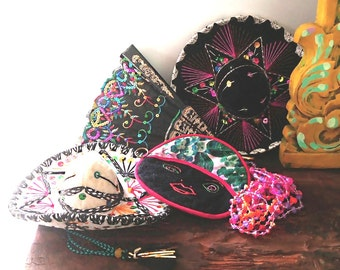 Vintage Mexicana, Frida Kahlo, Collection, Mexican Hats, Embroidered Fan, Handmade Pot Holder, Kitsch Beads, Vintage Display