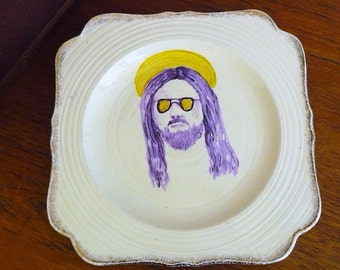 Purple Jesus in Raybans hand painted vintage plate with hanger recycled china art wall display humorous decor SALE