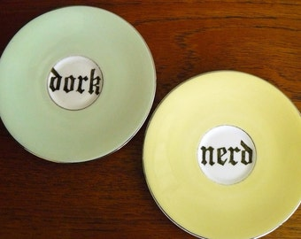 Nerd Dork hand painted vintage bone china saucers with hangers recycled humor couples wall display eco gift