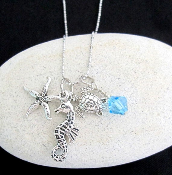 Ocean Life Charms Necklace, Under Sea Animal Charms, Star Fish, Sea Horse, Sea Turtle, Fun Jewelry, Free Shipping USA