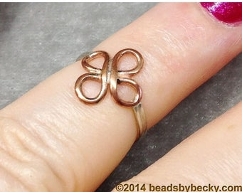 On Sale Copper and Sterling Silver Ring, Quatrefoil, Celtic Knot, 4 Leaf Clover, Flower, copper for arthritis, mixed metal 2 tone by LoveThe