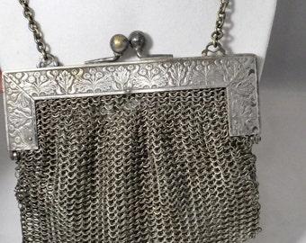 Antique German Silver Purse, Victorian Silver Mesh Bag, Mesh Metal Coin Purse, Collectible