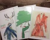 Xmas cards, set 3 Christmas cards, fashion Xmas cards, Xmas card set, fashion illustration, art cards