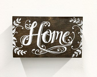 3x4 Hand Screen Printed on Hand Stained Wood Sign Art -Home