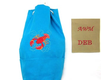 """Personalized Crafter's Duffle Style Bag for Knitting ,Crocheting, Spinning,  """"Lobster"""","""