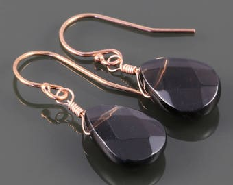 Smoky Quartz Earrings. Rose Gold Filled Ear Wires. Genuine Gemstone. Lightweight Earrings. Single Stone Earrings. s17e042