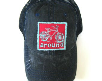 Distressed Trucker Hats - Bike Around Teal and Red on Black hat