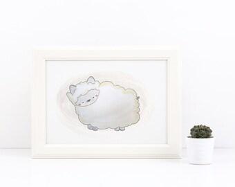 Sweet Little Sheep - Watercolor Art Print