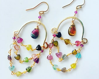 Watermelon Tourmaline Goldfill Chandelier Half-Hoops