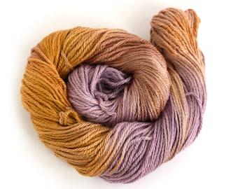Aran worsted wool, handdyed merino silk crochet yarn, Perran Yarns Copper Plum, bronze brown purple variegated skein yarn hank uk seller