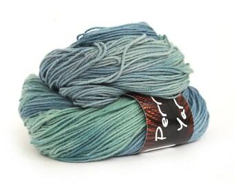 Pure yak handdyed yarn, 100% yak sportweight knitting crochet Perran Yarns Morgawr blue green variegated yarn skein free knitting pattern