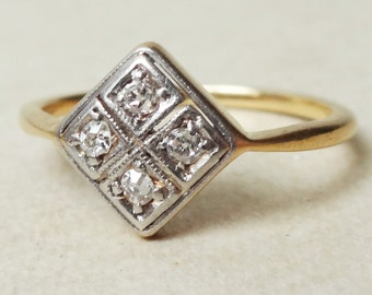 Art Deco Four Diamond Geometric Ring, 18k Gold and Diamond Engagement Ring Approx. Size US 5.25