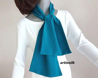 Teal Blue Crepe Silk Scarf, Double Layer Neck Scarf, available in Indigo Blue and Black Crepe, Ready to ship, Unisex Silk Scarf, Artinsilk.