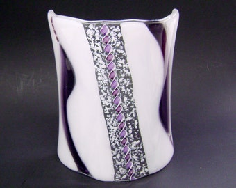 Glass Luminary Candle Guard in Purple and White