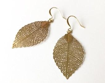 Copper Skeleton Leaf - Brass Color Leaf - Gold Leaf Earrings - Skeleton Leaf Earrings - Leaf Earrings -