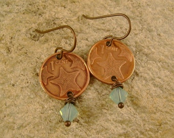 Star Gazer  - Copper Bermuda Starfish One Cent Coins, Blue Opalescent Swarovski Crystals, Niobium Wires Recycled Jewelry Earrings